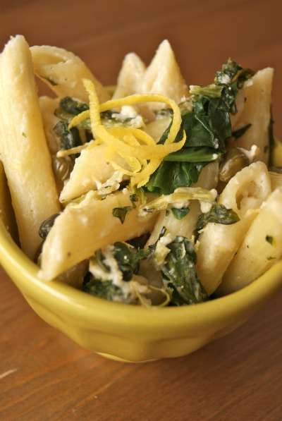 Pasta with Spinach, Lemon Cream, and Capers
