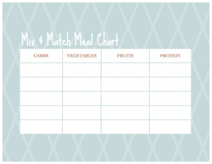 blank mix and match meal chart