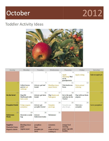 Free Toddler Activity Calendar for October