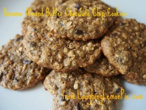 Banana Almond Butter Chocolate Chip Cookies from LaughingLemonPie.com