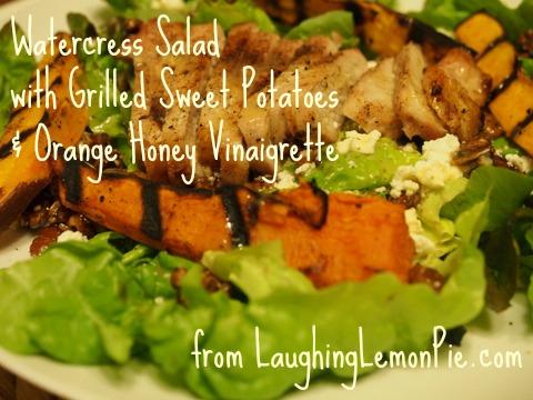 Watercress Salad with Grilled Sweet Potatoes & Orange Honey Vinaigrette