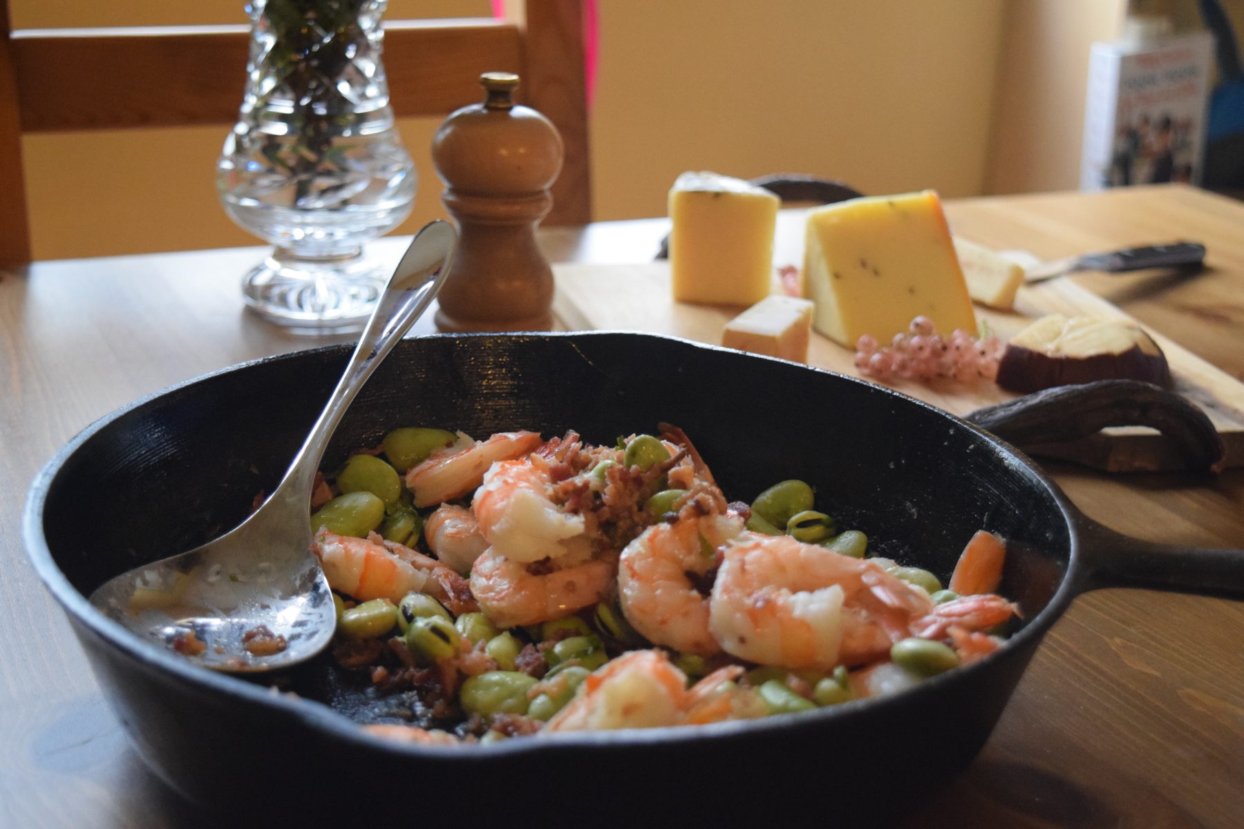 Shrimp and Fava Beans with Bacon