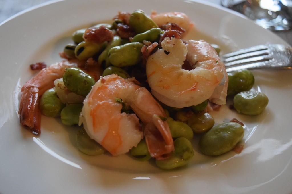 Shrimp with fava beans