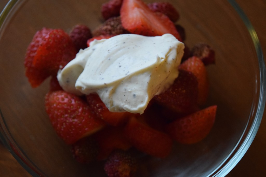 strawberries and creme fraiche