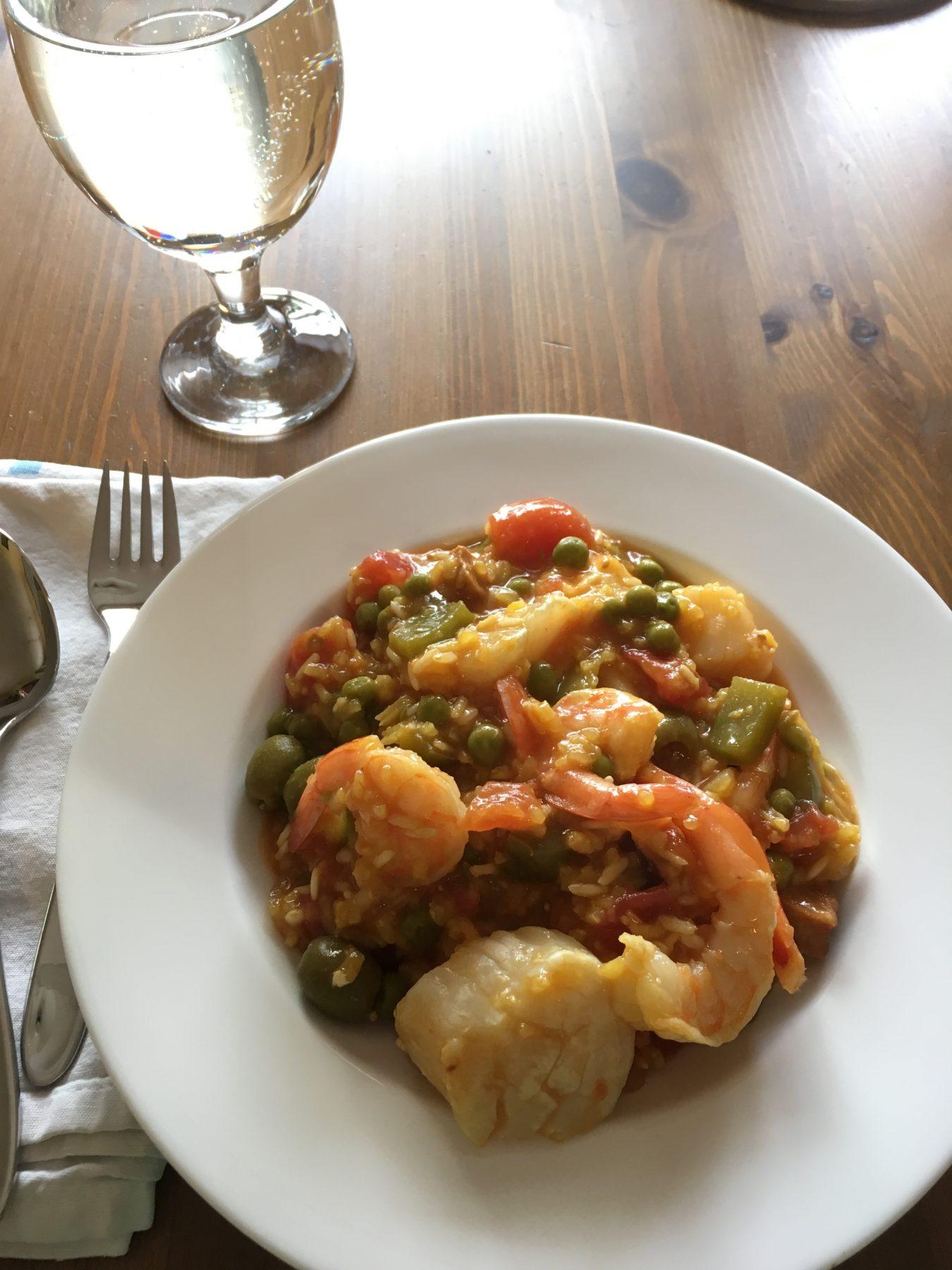Cheater's Shrimp and Scallop Paella