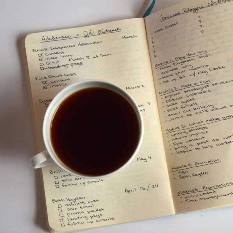 bullet journal with coffee cup